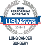 High Performing Hospitals, Lung Cancer Surgery, U.S. News & World Reports 2018-2019